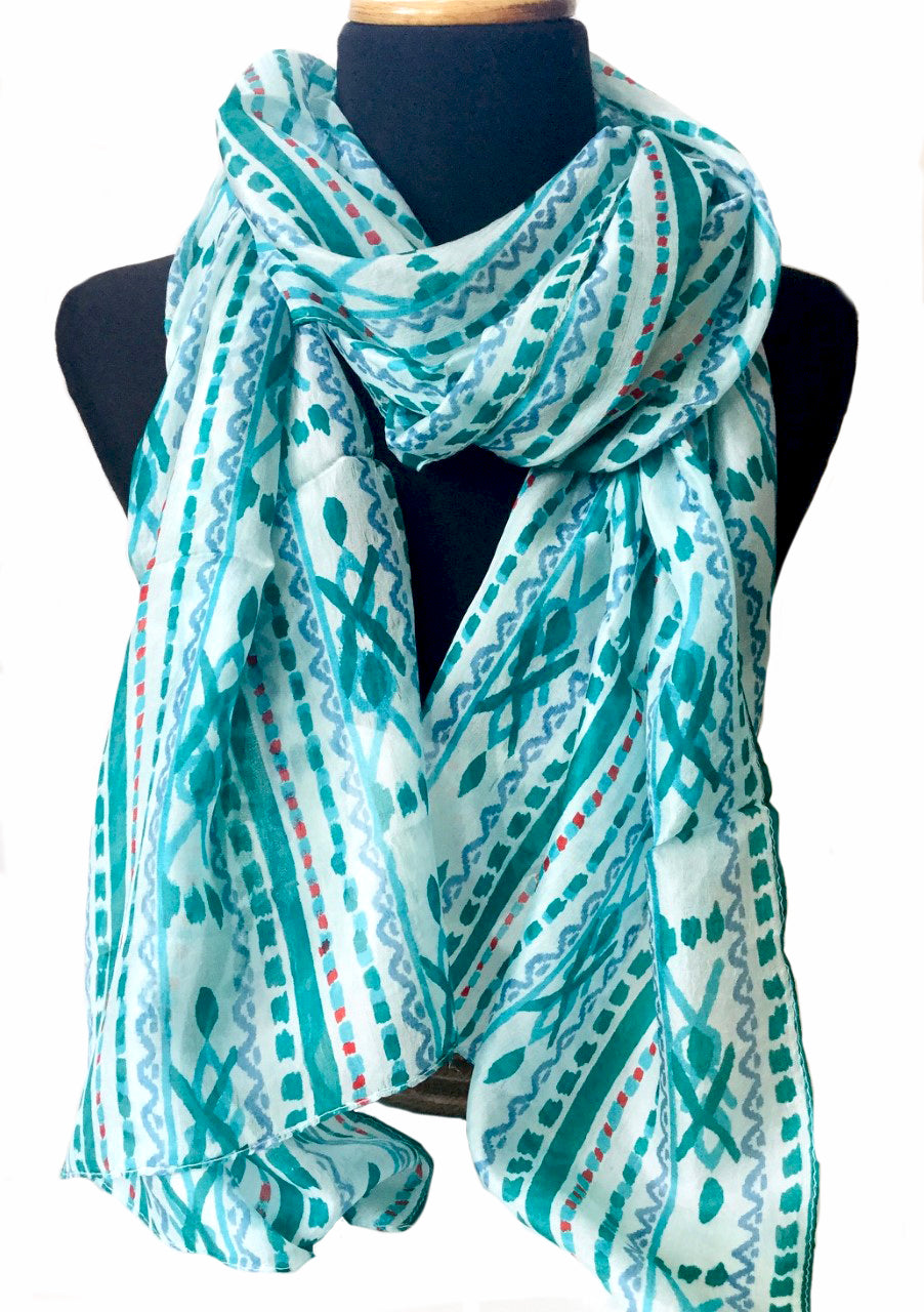 Aztec green silk scarf