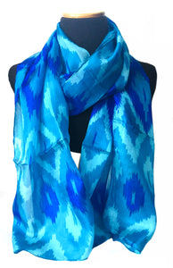 Turquoise ikat print silk scarf