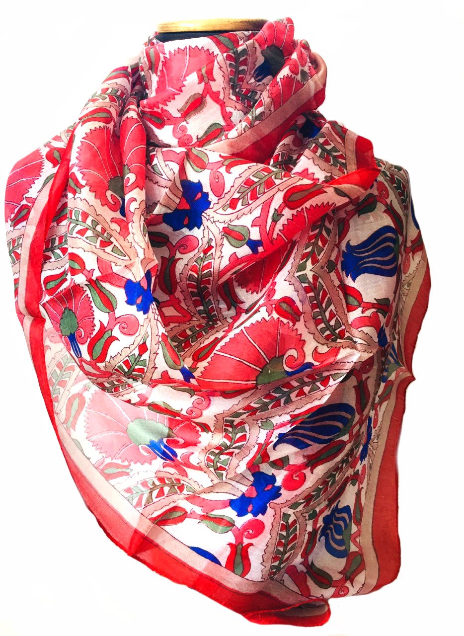 Morris print red silk scarf
