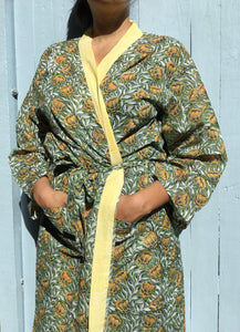 green yellow cotton robe