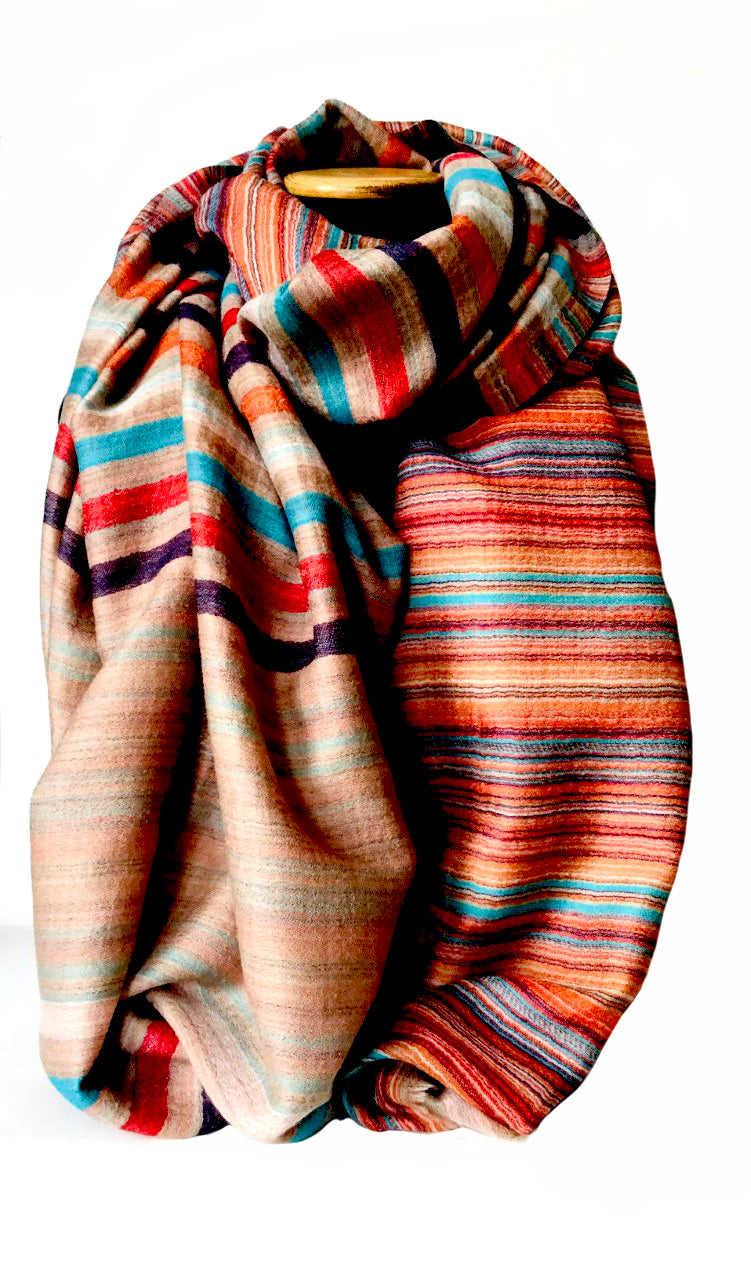Striped wool wrap - The Monika