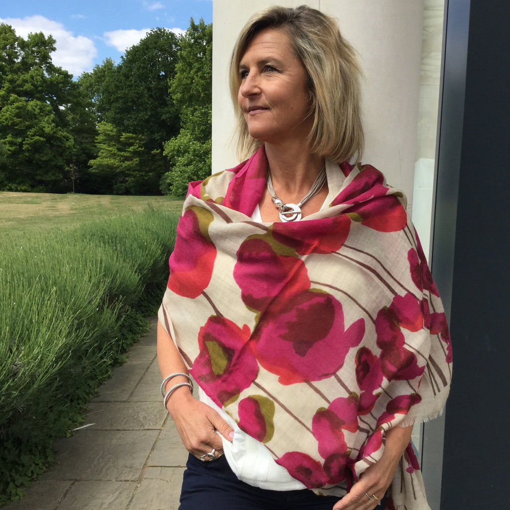 100% Wool Pink Poppy Print shawl
