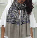 embroidered navy silk paisley shawl