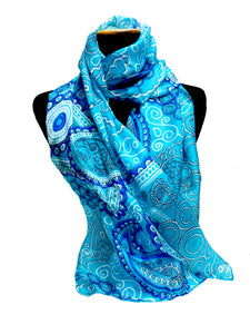 Ria - Bright Blue Silk Scarf