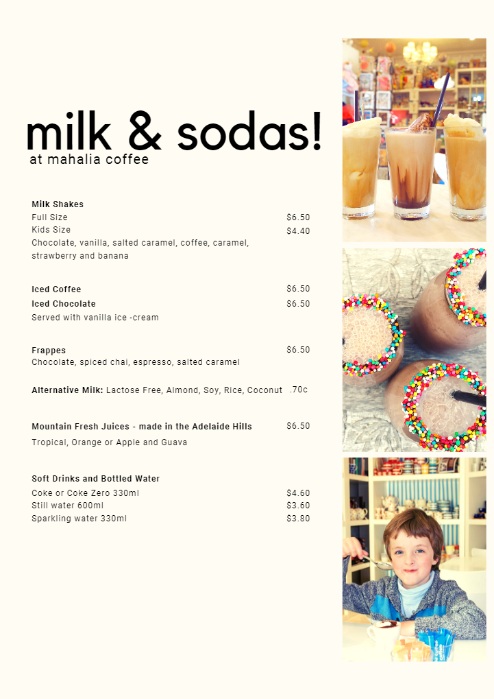 Mahalia Coffee Menu