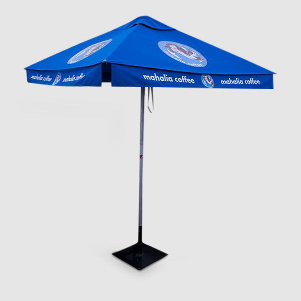 Mahalia Coffee Branded Market Umbrella with solid base