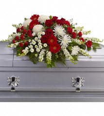Red & White Tribute Casket Spray