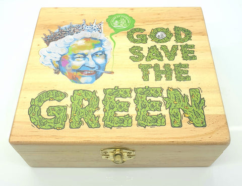 Wooden Stash Box God Save the Green