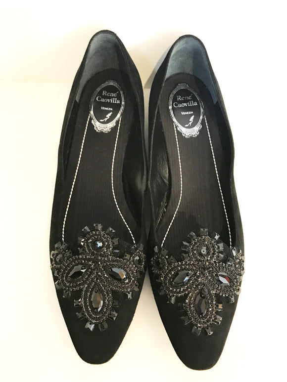 Rene Caovilla Flats with Russian Crystals // Size 10