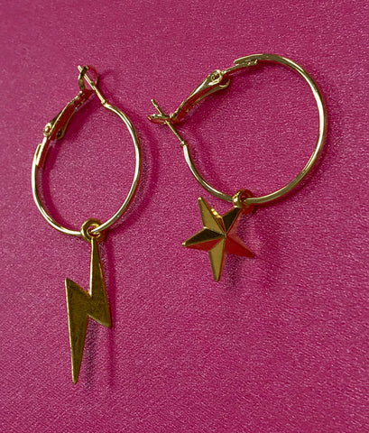 WISH Handmade Jewellery Star/lightning earrings.