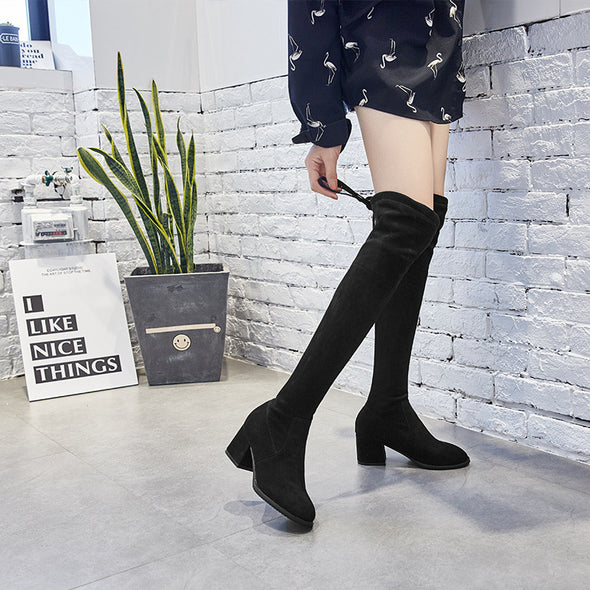 Women Leather Boots - High Heel Knee Black Boots
