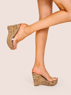 Clear Peep Toe Cork Wedges
