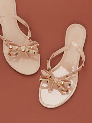 Studded Bow Tie Jelly Y-Strap Sandals