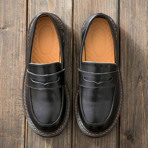 Leather Solid Color Round Toe Slip-On Flat Heel Loafers