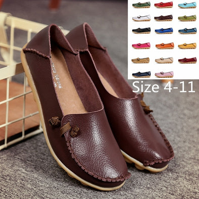 Classic Women Flat Shoes Genuine Leather Loafers