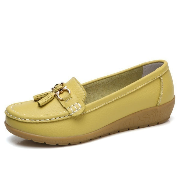 Spring Women Leather Flat Loafers Ballet Shoes