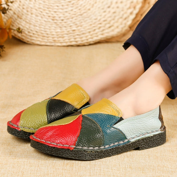 New Women Casual Leather Flats Patchwork Slip on Loafers