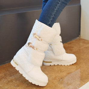 Women Warm Flat Fashion Metal Buckle Platform Snow Boots
