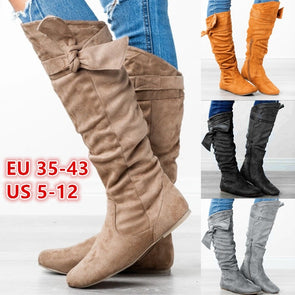 Women Winter Solid Color Pointed Toe Knee Boots