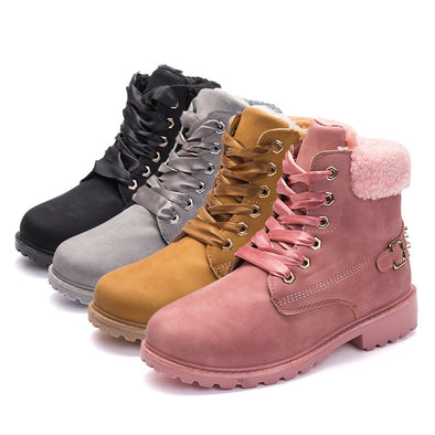 Women High Heel Winter Casual Hiking Warm Martin Boots