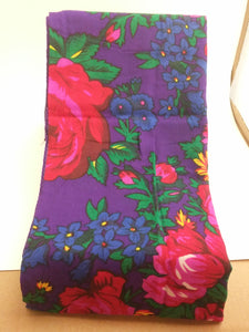 Purple Grandma or Kokum Floral Scarf