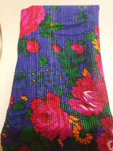 Blue metallic lined Grandma or Kokum Floral Scarf