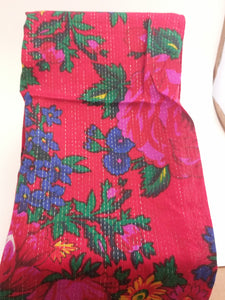 Red metallic lined Grandma or Kokum Floral Scarf