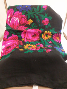 XL Black Grandma or Kokum Floral Scarf