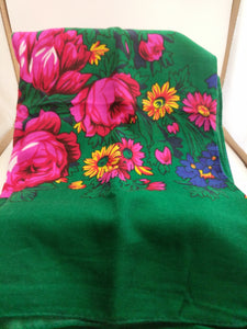 XL Green Grandma or Kokum Floral Scarf