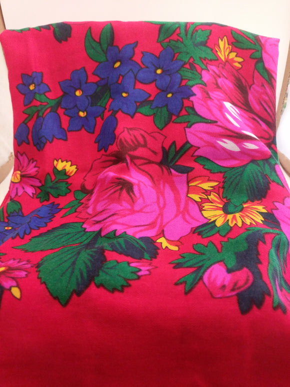 XL Red Grandma or Kokum Floral Scarf
