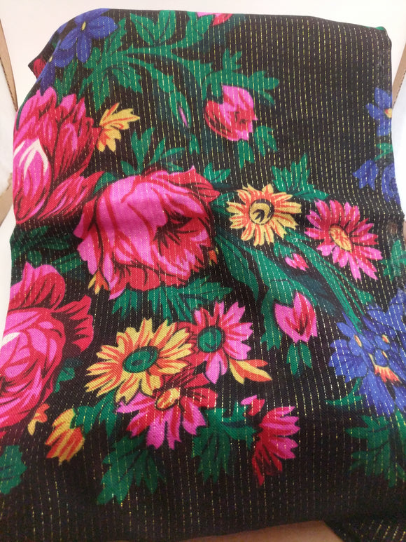 XL Black Grandma or Kokum Floral Scarf with metallic line