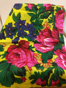 XL Yellow Grandma or Kokum Floral Scarf with metallic line