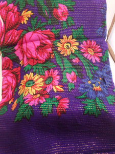 XL Purple Grandma or Kokum Floral Scarf with metallic line