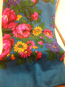 XL Turquoise Grandma or Kokum Floral Scarf with metallic line