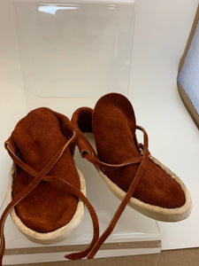 Child Front Tie Low Cut Rust Colored Moccasin