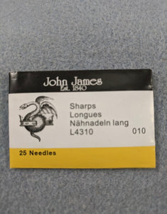 John James Beading Needles size 10 Short