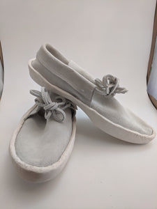 Front Tie Low Cut White Colored Moccasins