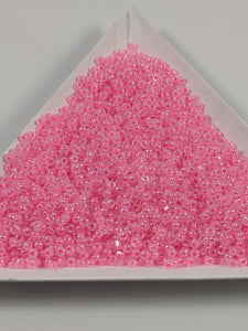 Neon pink cut beads size 15 specialty beads