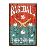 Plaque Metal Vintage Baseball