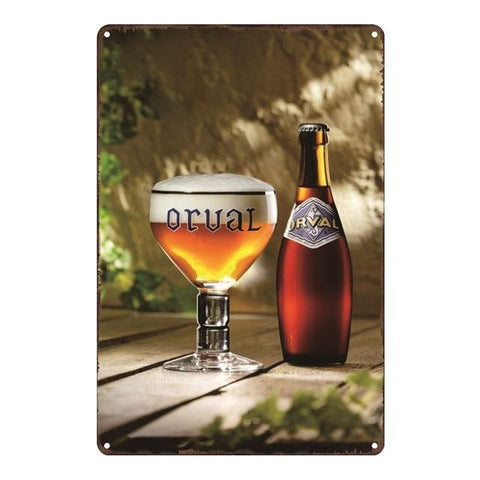 Plaque Metal Vintage Bouteille Orval