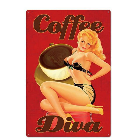 Plaque Metal Vintage Coffee Diva