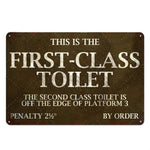 Plaque Metal Vintage First-Class Toilet