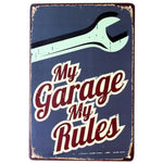Plaque Metal Vintage Garage Rules