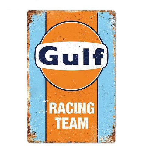 Plaque Metal Vintage Gulf Racing Team