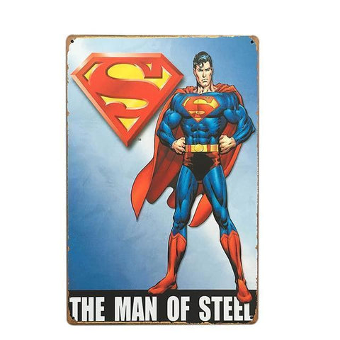 Plaque Metal Vintage Man of Steel