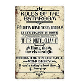 Plaque Metal Vintage Rules of the Bathroom