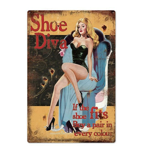 Plaque Metal Vintage Shoe Diva