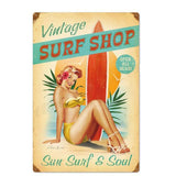 Plaque Metal Vintage Surf Shop