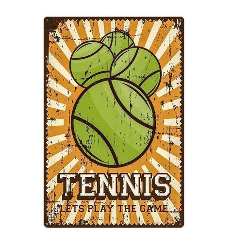 Plaque Metal Vintage Tennis