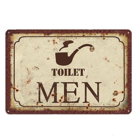 Plaque Metal Vintage Toilet Men | La Boutique du Vintage